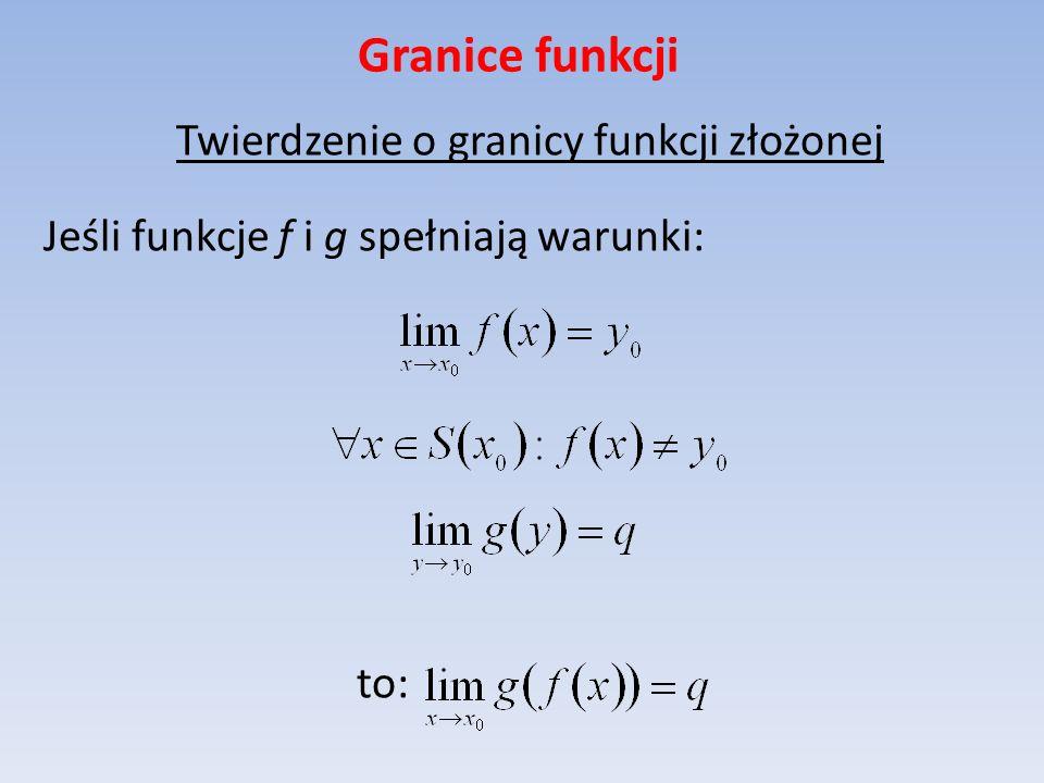 Granice funkcji Twierdzenie o granicy funkcji złożonej Jeśli funkcje f i g spełniają warunki: to: