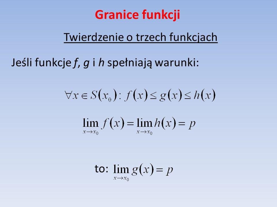 Granice funkcji Twierdzenie o trzech funkcjach Jeśli funkcje f, g i h spełniają warunki: to: