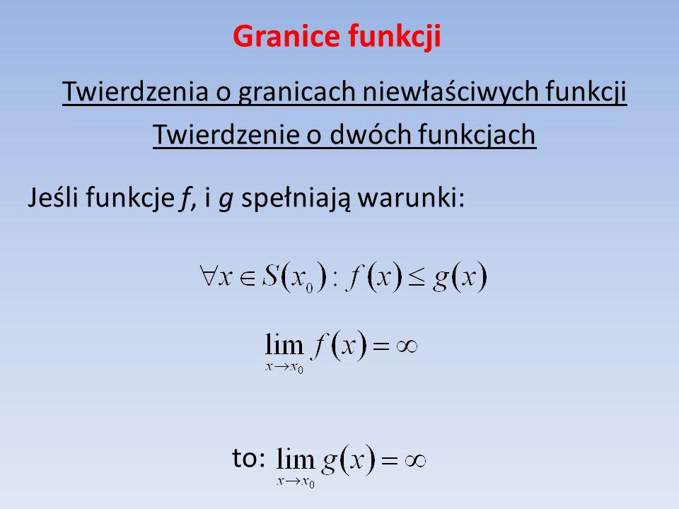 Granice funkcji Twierdzenia o granicach niewłaściwych funkcji Twierdzenie o dwóch funkcjach Jeśli funkcje f, i g spełniają warunki: to:
