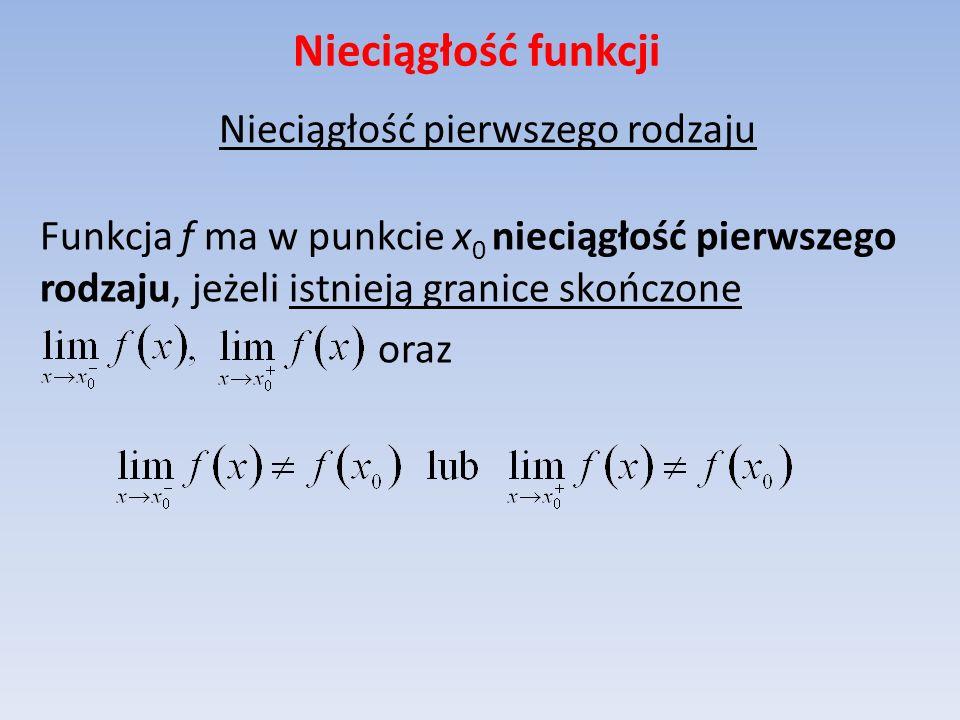 Nieciągłość funkcji Nieciągłość pierwszego rodzaju Funkcja f ma w punkcie x0 nieciągłość pierwszego rodzaju, jeżeli istnieją granice skończone oraz