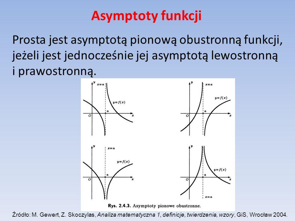 Asymptoty funkcji Prosta jest asymptotą pionową obustronną funkcji, jeżeli jest jednocześnie jej asymptotą lewostronną i prawostronną.