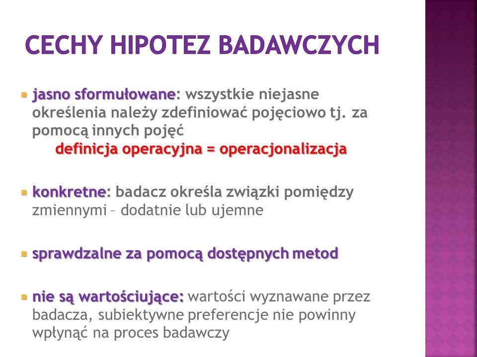 Cechy hipotez badawczych