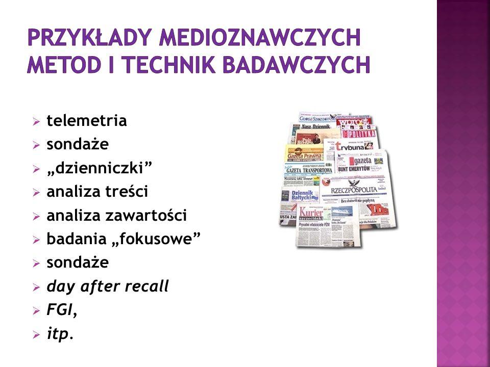 Przykłady medioznawczych metod i technik badawczych