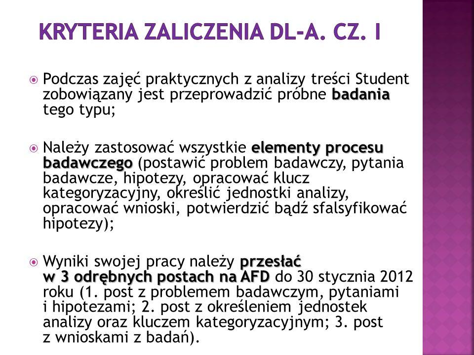 KRYTERIA ZALICZENIA DL-a. cz. I