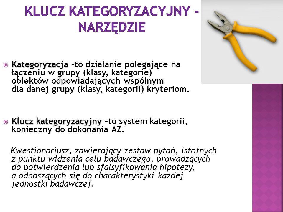 Klucz kategoryzacyjny - narzędzie