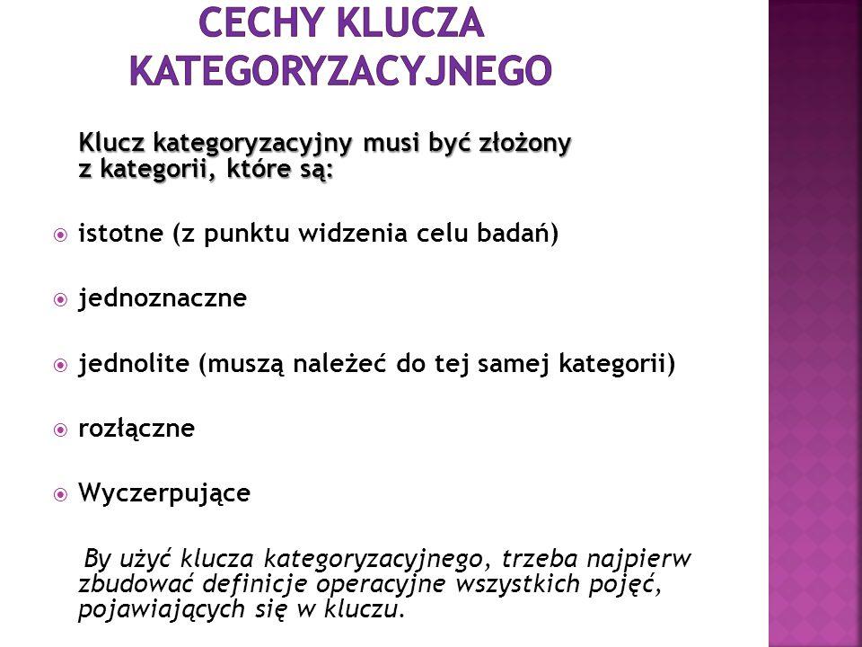 Cechy klucza kategoryzacyjnego