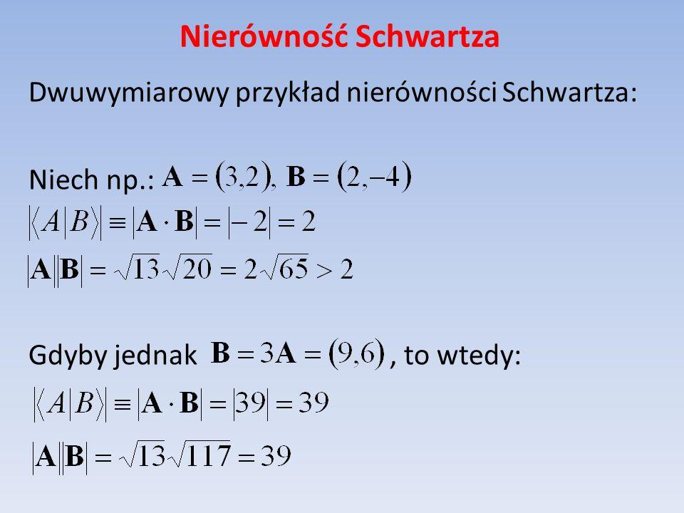 Nierówność Schwartza Dwuwymiarowy przykład nierówności Schwartza: Niech np.: Gdyby jednak , to wtedy: