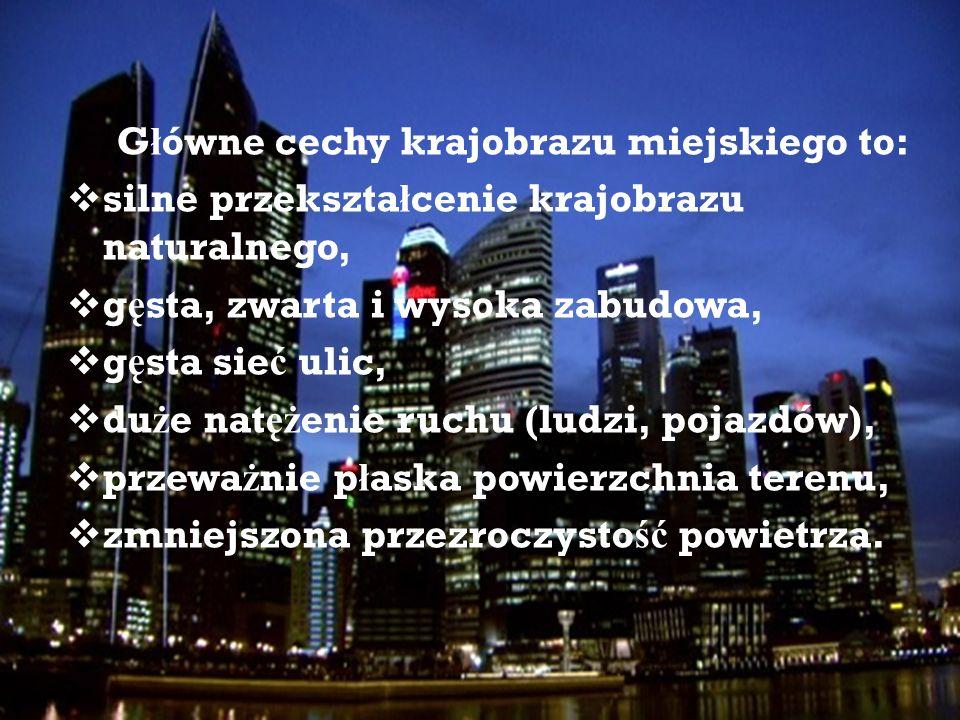 Główne cechy krajobrazu miejskiego to: