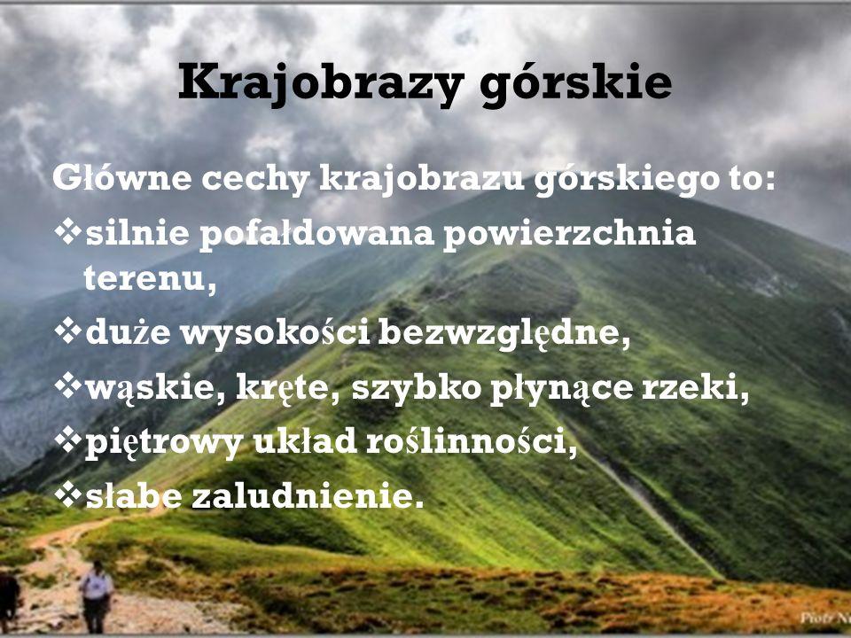 Krajobrazy górskie Główne cechy krajobrazu górskiego to: