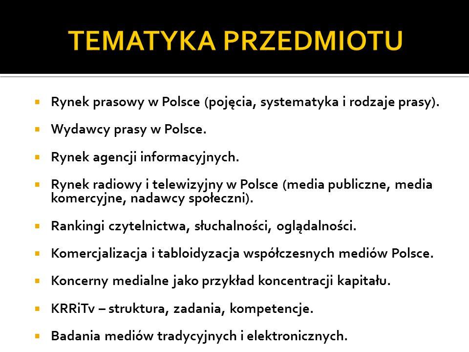 TEMATYKA PRZEDMIOTU Rynek prasowy w Polsce (pojęcia, systematyka i rodzaje prasy). Wydawcy prasy w Polsce.