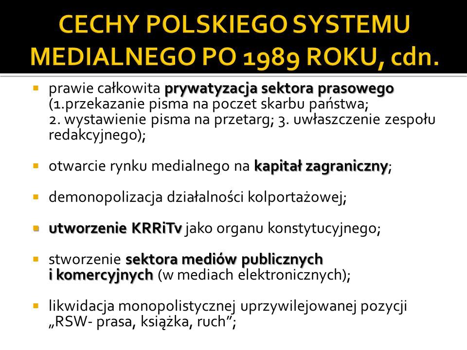 CECHY POLSKIEGO SYSTEMU MEDIALNEGO PO 1989 ROKU, cdn.