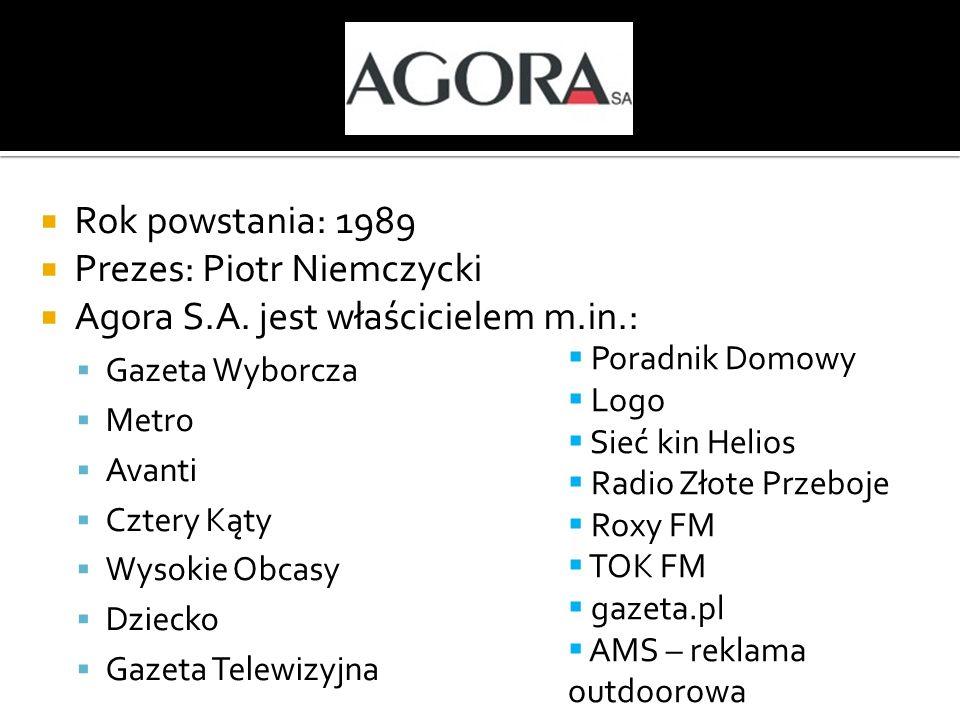 Prezes: Piotr Niemczycki Agora S.A. jest właścicielem m.in.: