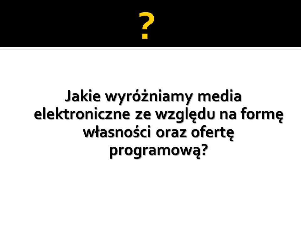 Jakie wyróżniamy media elektroniczne ze względu na formę własności oraz ofertę programową