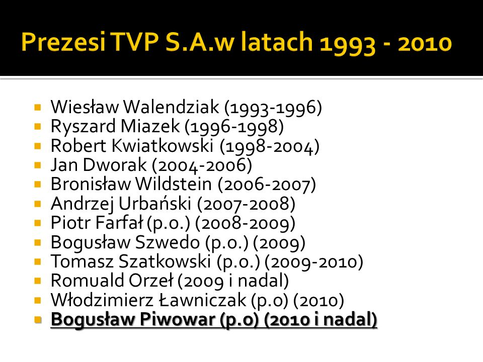 Prezesi TVP S.A.w latach 1993 - 2010