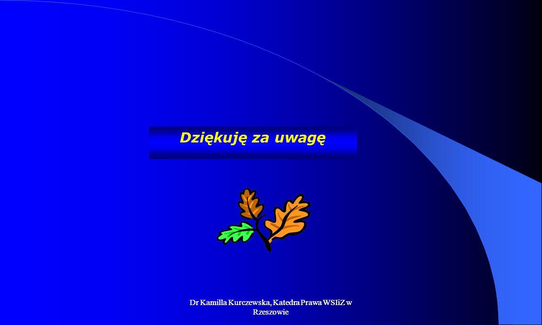 Dziękuję za uwagę Dr Kamilla Kurczewska, Katedra Prawa WSIiZ w Rzeszowie.