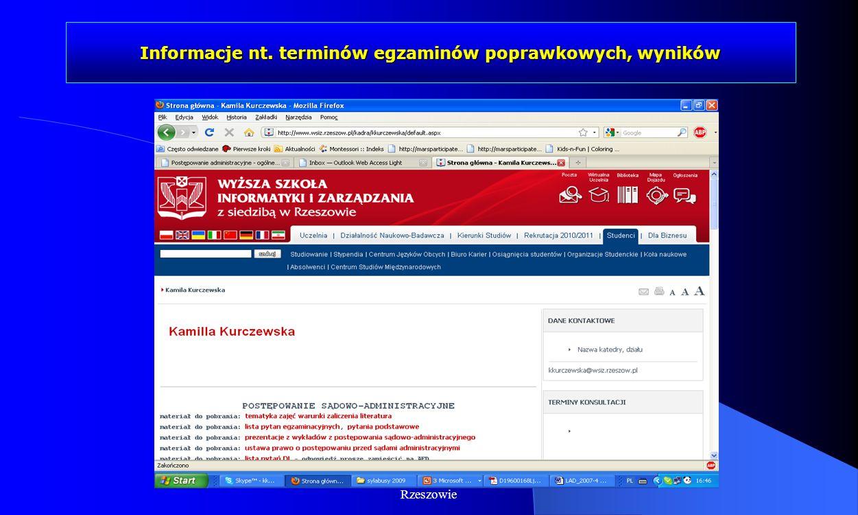 Informacje nt. terminów egzaminów poprawkowych, wyników