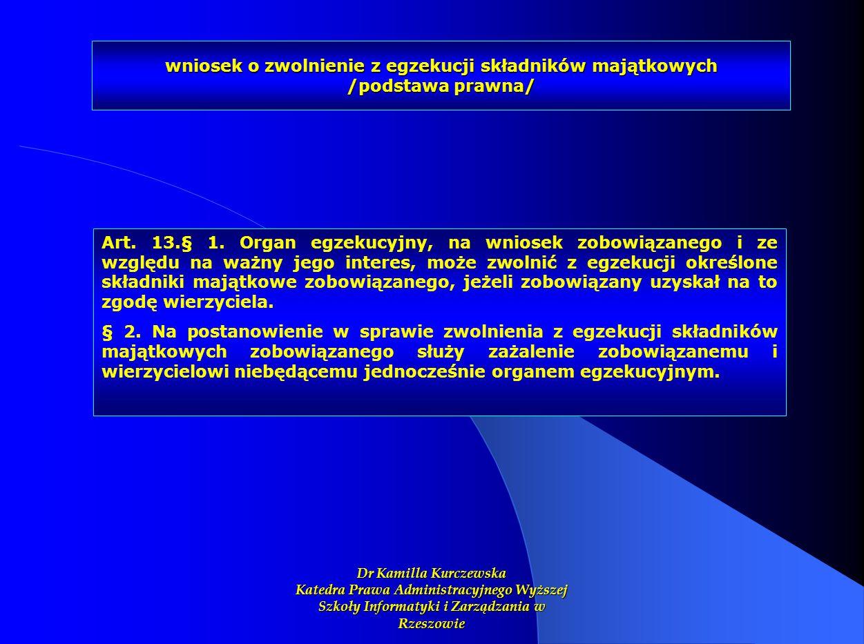 wniosek o zwolnienie z egzekucji składników majątkowych /podstawa prawna/