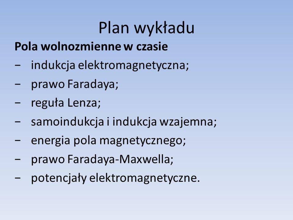 Plan wykładu Pola wolnozmienne w czasie indukcja elektromagnetyczna;