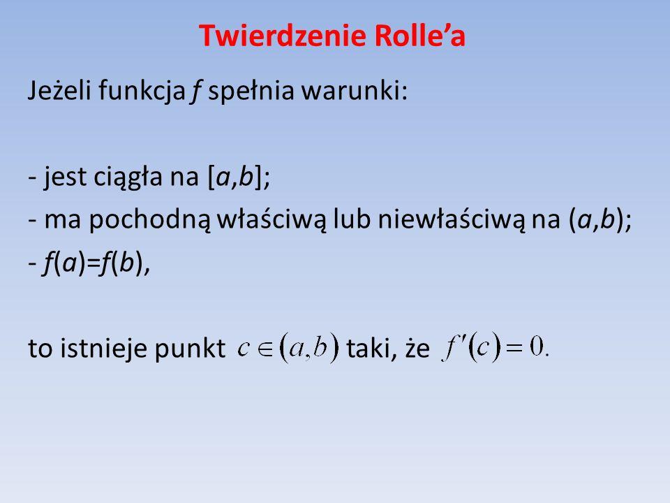 Twierdzenie Rolle'a Jeżeli funkcja f spełnia warunki:
