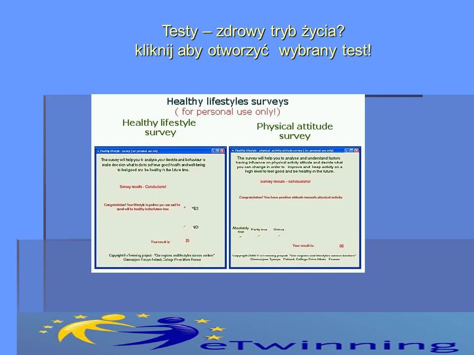 Testy – zdrowy tryb życia kliknij aby otworzyć wybrany test!