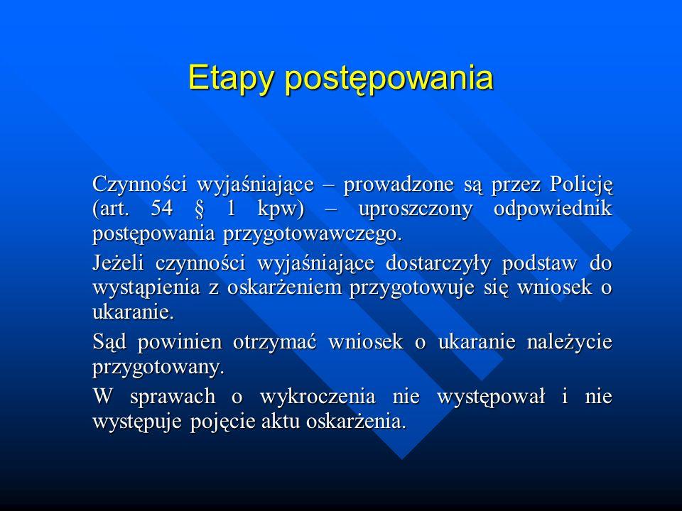 Etapy postępowania Czynności wyjaśniające – prowadzone są przez Policję (art. 54 § 1 kpw) – uproszczony odpowiednik postępowania przygotowawczego.