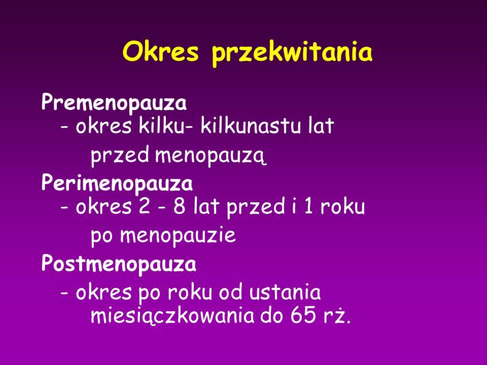 Okres przekwitania Premenopauza - okres kilku- kilkunastu lat