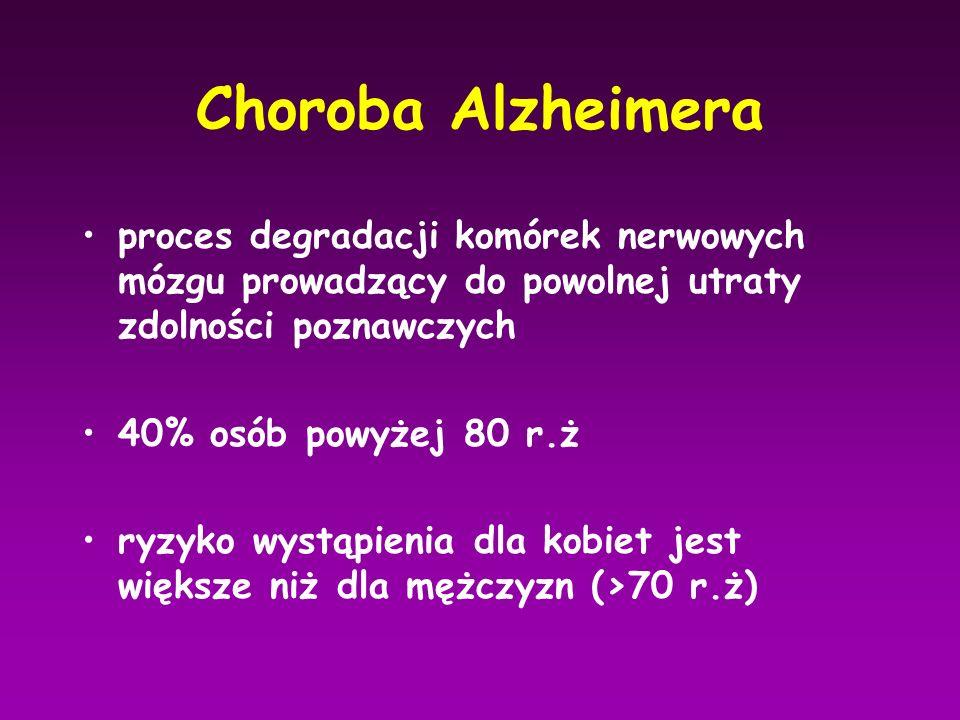 Choroba Alzheimera proces degradacji komórek nerwowych mózgu prowadzący do powolnej utraty zdolności poznawczych.