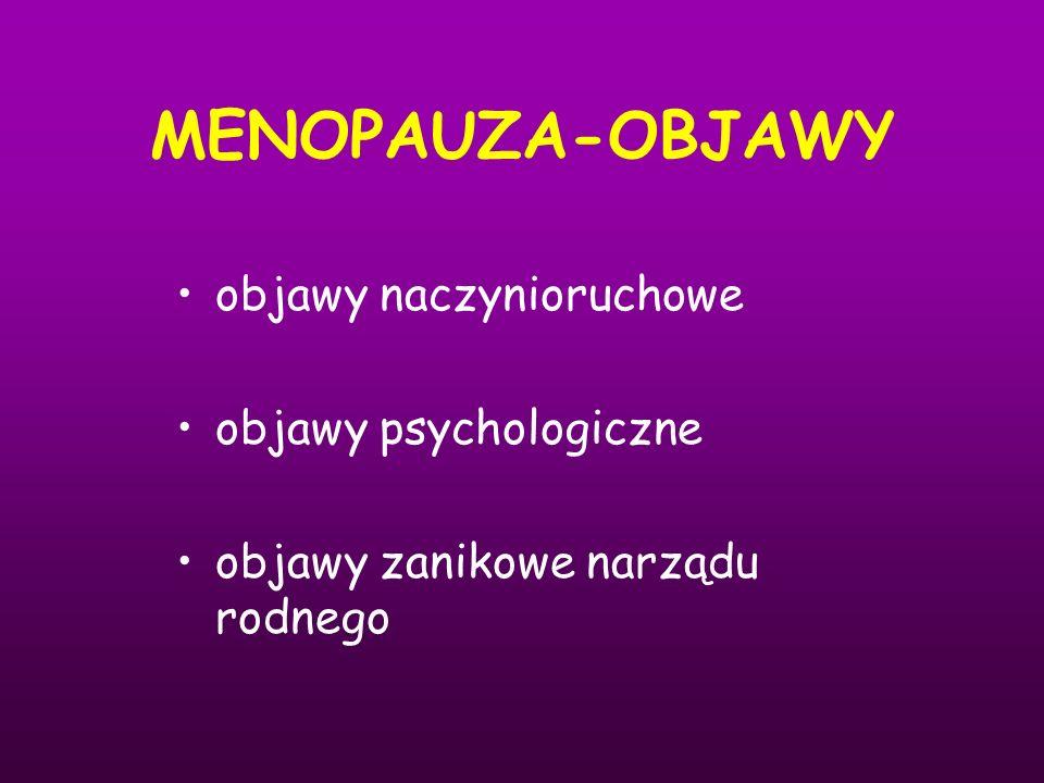 MENOPAUZA-OBJAWY objawy naczynioruchowe objawy psychologiczne