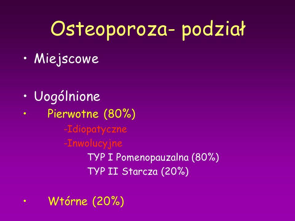 Osteoporoza- podział Miejscowe Uogólnione Pierwotne (80%) Wtórne (20%)