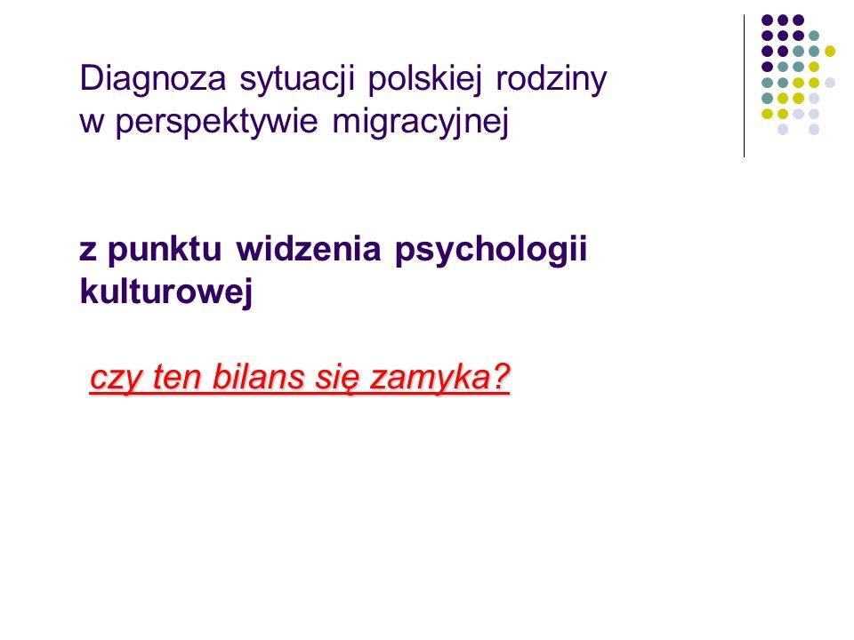 Diagnoza sytuacji polskiej rodziny w perspektywie migracyjnej z punktu widzenia psychologii kulturowej czy ten bilans się zamyka