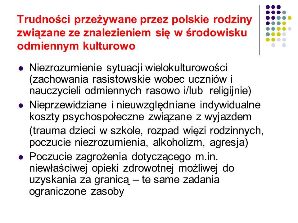 Trudności przeżywane przez polskie rodziny związane ze znalezieniem się w środowisku odmiennym kulturowo