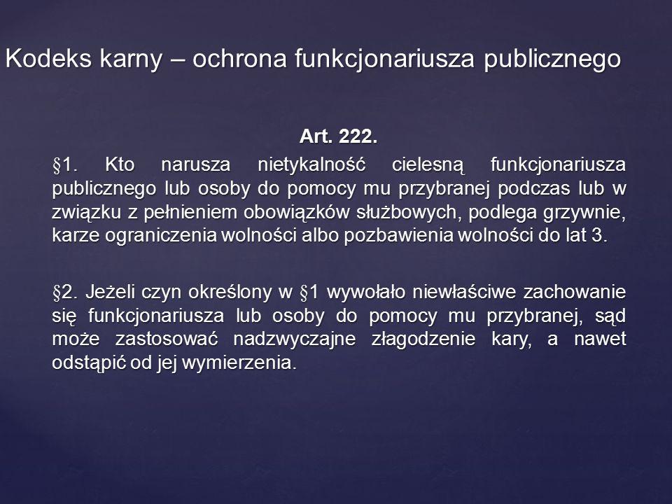 Kodeks karny – ochrona funkcjonariusza publicznego