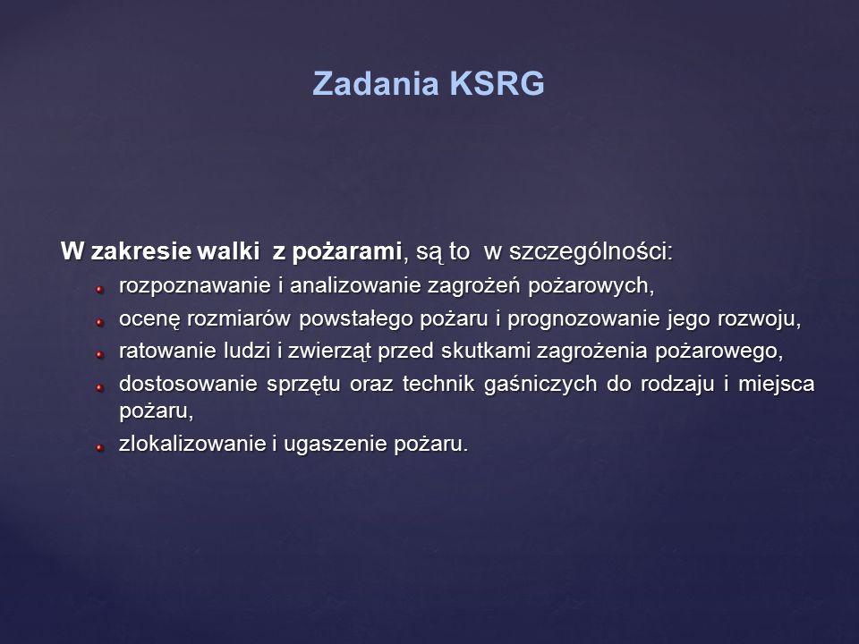 Zadania KSRG W zakresie walki z pożarami, są to w szczególności: