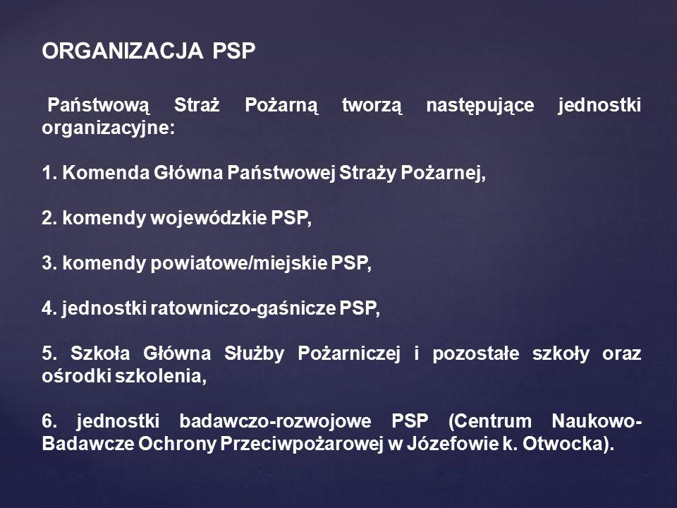 ORGANIZACJA PSP Państwową Straż Pożarną tworzą następujące jednostki organizacyjne: 1. Komenda Główna Państwowej Straży Pożarnej,