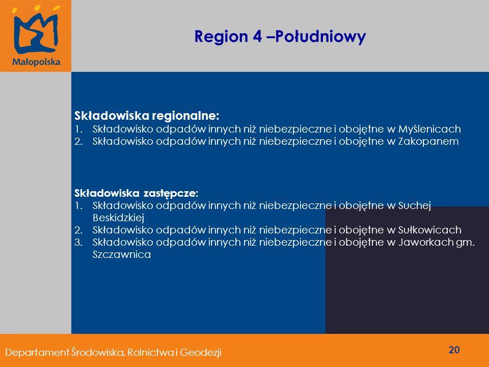 Region 4 –Południowy Składowiska regionalne: Składowiska zastępcze:
