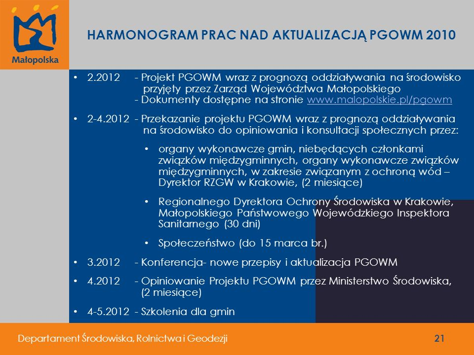HARMONOGRAM PRAC NAD AKTUALIZACJĄ PGOWM 2010