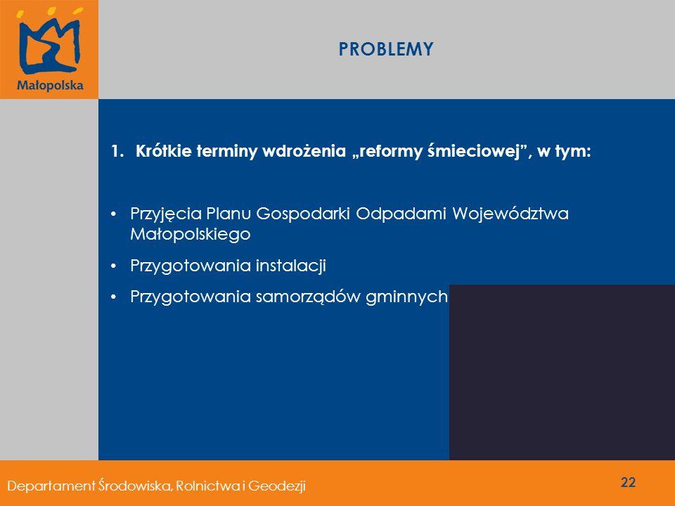 """PROBLEMY Krótkie terminy wdrożenia """"reformy śmieciowej , w tym:"""