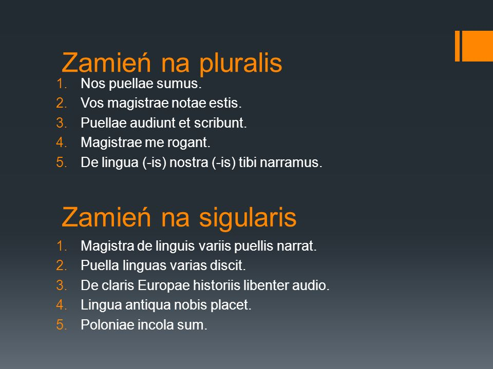Zamień na pluralis Zamień na sigularis Nos puellae sumus.