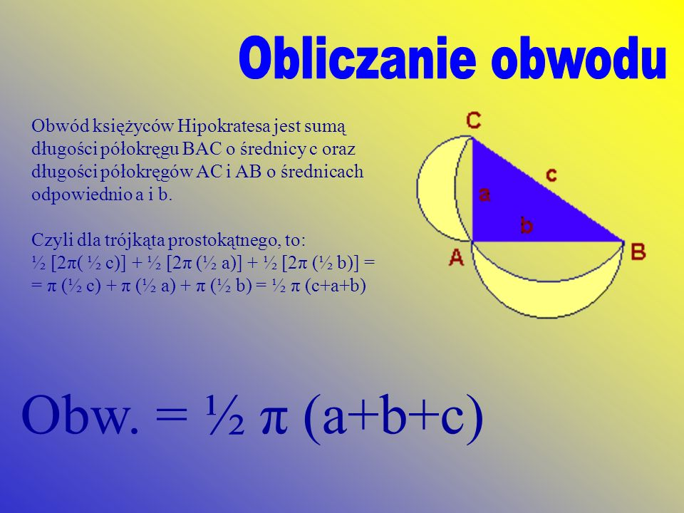 Obw. = ½ π (a+b+c) Obliczanie obwodu