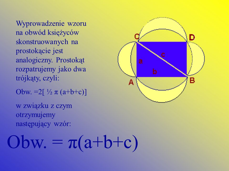 Wyprowadzenie wzoru na obwód księżyców skonstruowanych na prostokącie jest analogiczny. Prostokąt rozpatrujemy jako dwa trójkąty, czyli: