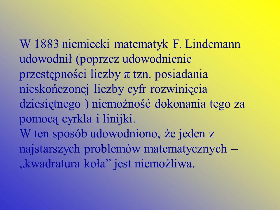 W 1883 niemiecki matematyk F