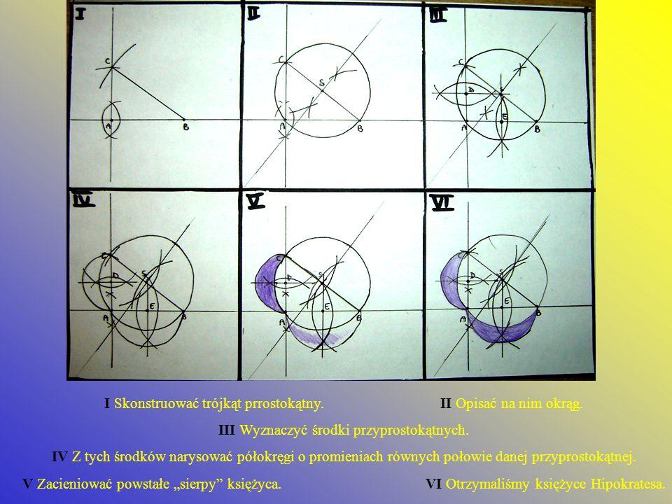 I Skonstruować trójkąt prrostokątny. II Opisać na nim okrąg.