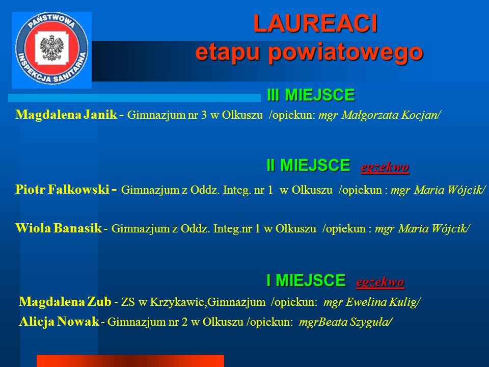 etapu powiatowego LAUREACI III MIEJSCE
