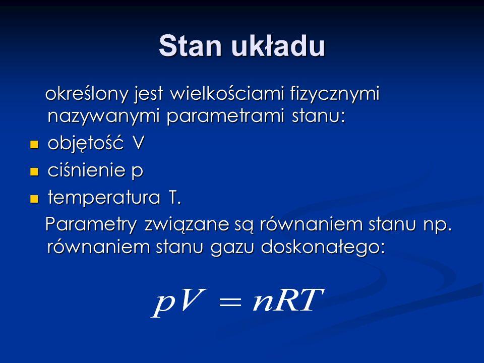 Stan układu określony jest wielkościami fizycznymi nazywanymi parametrami stanu: objętość V. ciśnienie p.