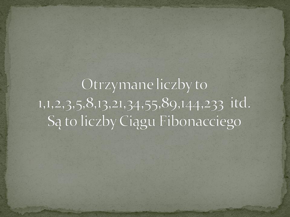 Otrzymane liczby to 1,1,2,3,5,8,13,21,34,55,89,144,233 itd