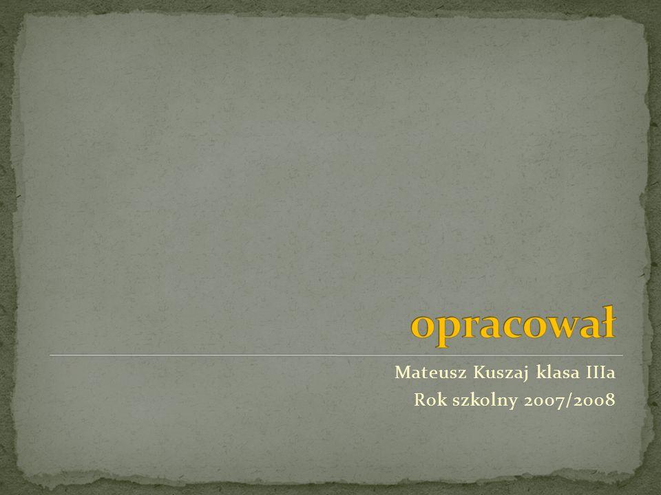opracował Mateusz Kuszaj klasa IIIa Rok szkolny 2007/2008