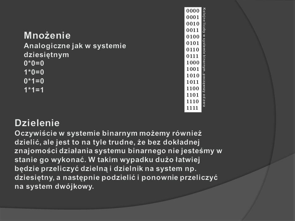 Mnożenie Dzielenie Analogiczne jak w systemie dziesiętnym 0*0=0 1*0=0