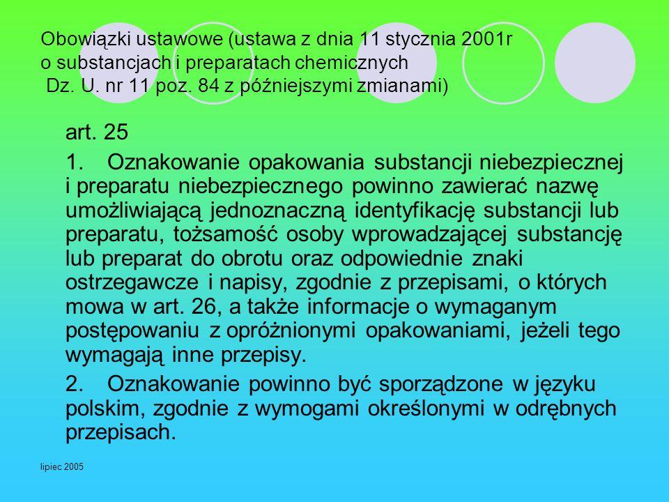 Obowiązki ustawowe (ustawa z dnia 11 stycznia 2001r o substancjach i preparatach chemicznych Dz. U. nr 11 poz. 84 z późniejszymi zmianami)