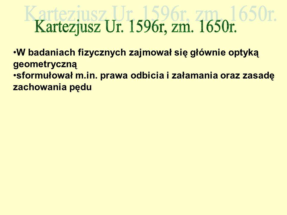 W badaniach fizycznych zajmował się głównie optyką geometryczną