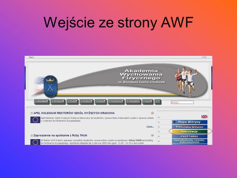 Wejście ze strony AWF